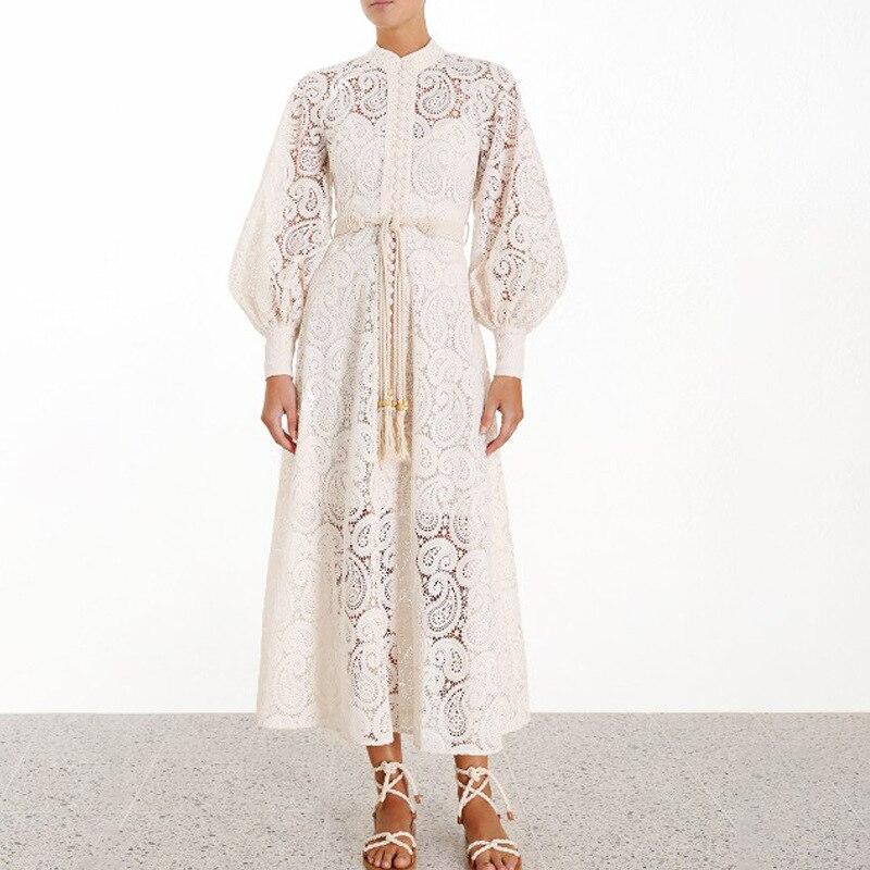 Robe en dentelle blanche concepteur dentelle Midi longue robe simple boutonnage bouton évider longue robe en dentelle Vestidos robes de fête ceintures