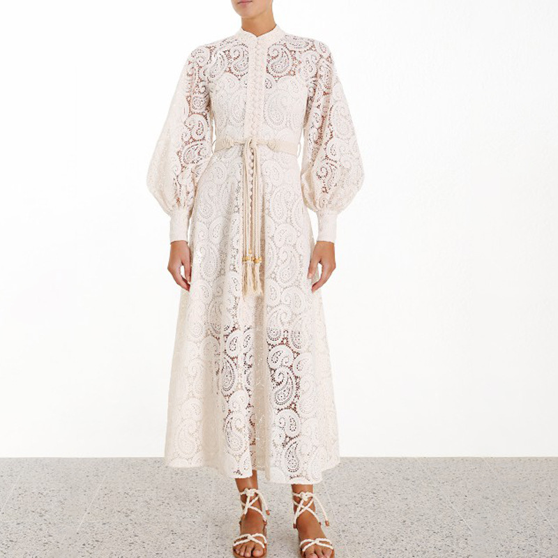 White Lace Dress Designer Lace Midi Long Dress Single Breasted Button Hollow Out Long Lace Dress Vestidos Party Dresses Sashes