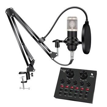 Bm 800 Studio Microphone Kits With Filter V8 Sound Card Condenser Microphone Bundle Record Ktv Karaoke Smartphone Microphone bm 800 condenser microphone kits professional bm800 adjustable studio microphone bundle karaoke microphone recording broadcast