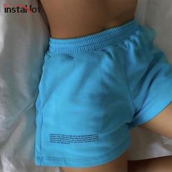 InstaHot women shorts elastic waist pocket cotton summer straight letter printed casual high street shorts 2020 femme shorts