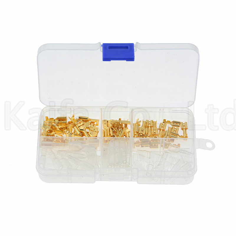 120PCS/box Gold Insulated Wire Connector Electrical Wire Crimp Terminals 2.8 4.8 6.3mm Spade Connectors Assortment Kit