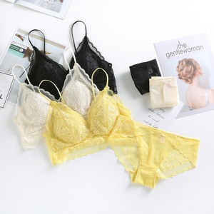 Image 1 - High Quality Lace Underwear Set Yellow Lace Bra Set Noble Girl Lingerie Set Push Up Bralette Women Triangle Cup Bra & Panty Set