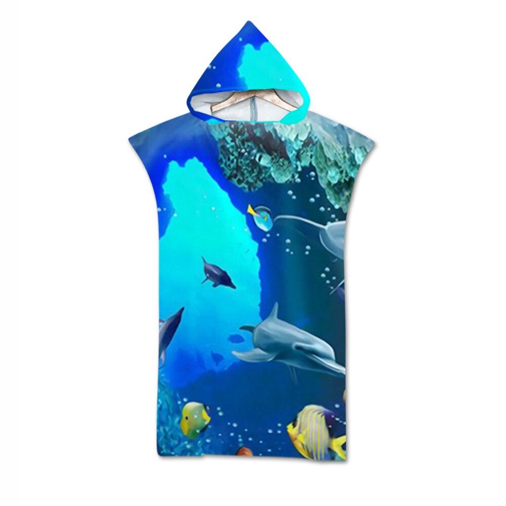 Toalha de Microfibra Toalha para Mudar de Roupão Toalha com Capuz de Secagem Rápida para Praia Estampada Surf Banho Ultraleve