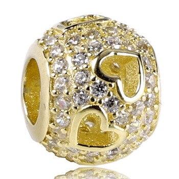 Nuevo abalorio de plata de ley 925, brazalete con cuentas doradas, corazones calados con cuentas llanas de cristales, joyería Diy