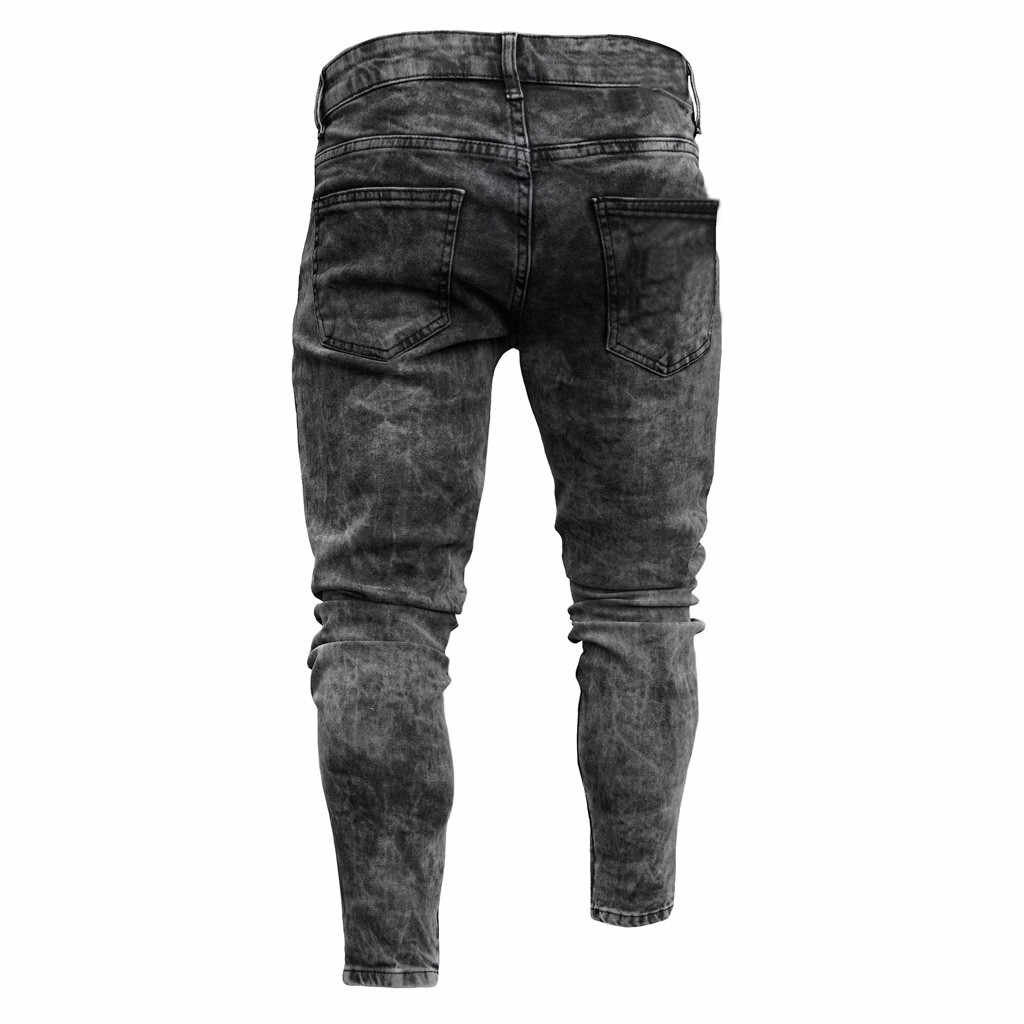 Fashion Trousers For Men Mens Skinny Stretch Denim Pants Distressed Ripped Freyed Slim Fit Jeans Trousers Black Mens Sweatpants