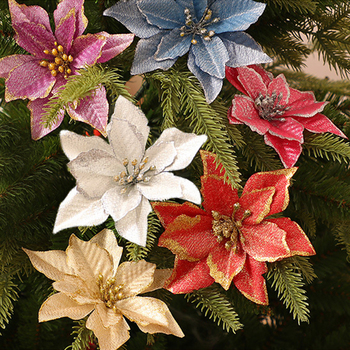 5pcs Artificial Flowers Glitter Christmas Flowers Merry Christmas Tree Decorations for Home 2020 Xmas Ornaments New Year Decor недорого