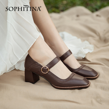 SOPHITINA Mary Janes Pumps High Quality Cow Leather Comfortable Square Heel Square Toe Retro Shoes Women's Buckle Pumps PO408