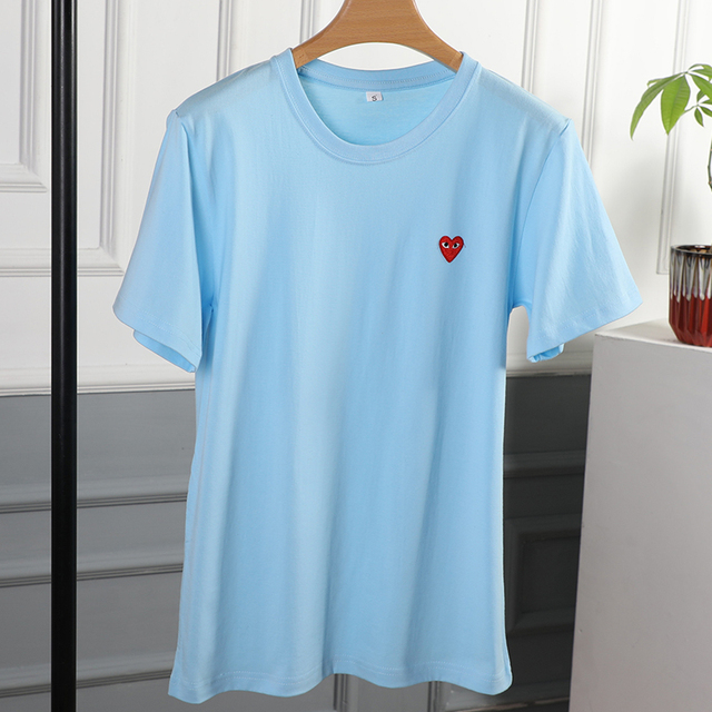 Couple T-Shirt 2020 Casual O-Neck Embroidery Single Love-Heart Breathable Tshirt Casual Summer  Man Women 4