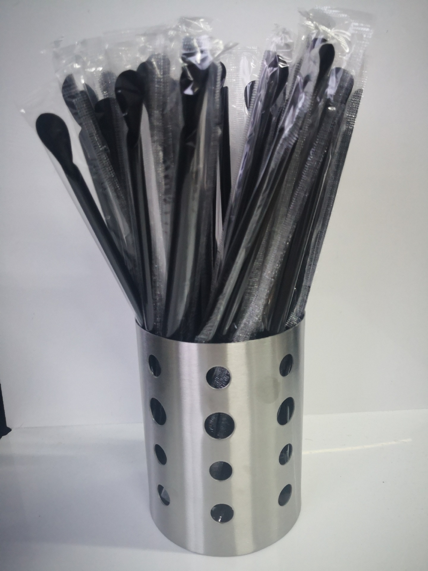 Currently Available Black And White With Pattern 24 Cm Spoon-Shaped Straw 100 Sticks Sand Ice Milk Tea Drink Straw Manufacturers