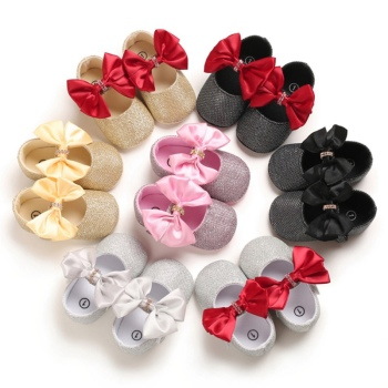 цена на Baby First Walkers Clothing Baby Shoes Newborn Infant Pram Girls Princess Moccasins Bowknot Solid Soft Shoes