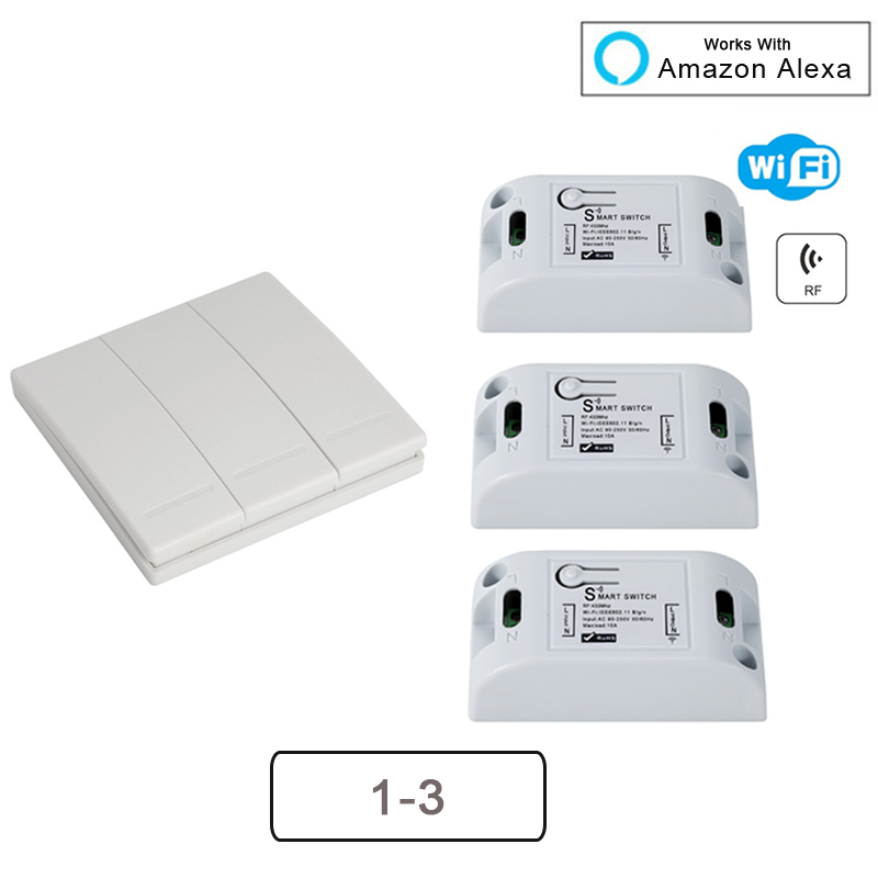 H2b038eceaa7e46f29a78aeecaa0a7ef86 - QIACHIP Smart Home Wifi Switch 10A 2200W 433Mhz Wireless RF Remote Control Switch For Alexa Google Home Timer Automation Module