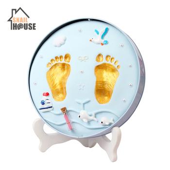 Snailhouse Baby Hand Print Footprint Imprint Kit Foot Print Mud Baby Souvenirs Baby Hand amp Foot Mold Hundred Days Souvenir Gifts tanie i dobre opinie Unisex W wieku 0-6m 7-12m CN (pochodzenie) 20 CM 20cm