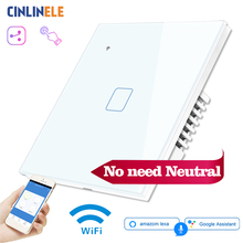 No Need Neutral Wire WIFI Touch Light Wall Switch White Glass LED Smart Home Phone Control 2Way 190 240V Alexa Google Home
