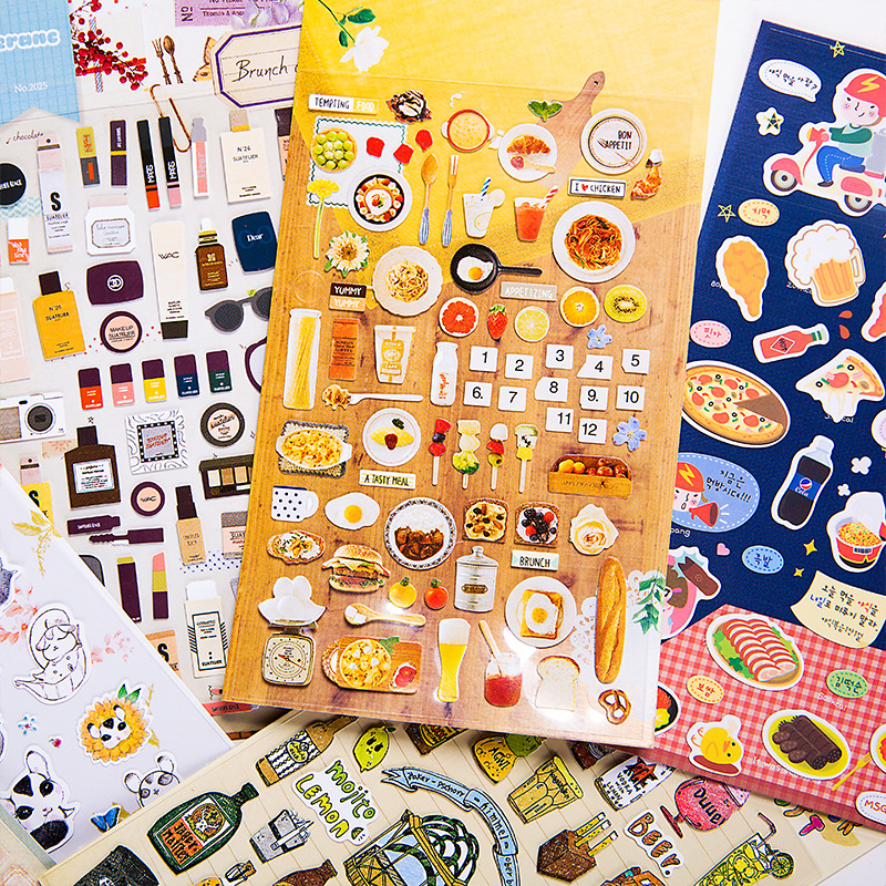 Food Cat Stickers Bullet Journal Cute Kawaii Korean Stationery Scrapbooking Diary Travel Transparent Japanese Tape Stationary