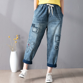 Elastic Waist Patchwork Floral Embroidery Jeans