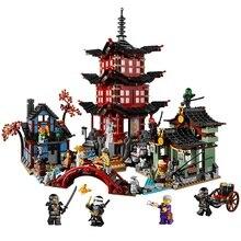 737 шт Diy Ninja Temple of Airjitzu Ninjagoes маленькая версия строительных блоков набор совместимых Legoinglys игрушек для детей Подарки