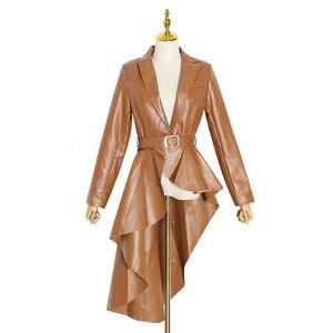 Image 5 - Twotwinstyle puレザー女性のトレンチラペル襟長袖サッシ不規則な裾ウインドブレーカー女性2020ファッション秋