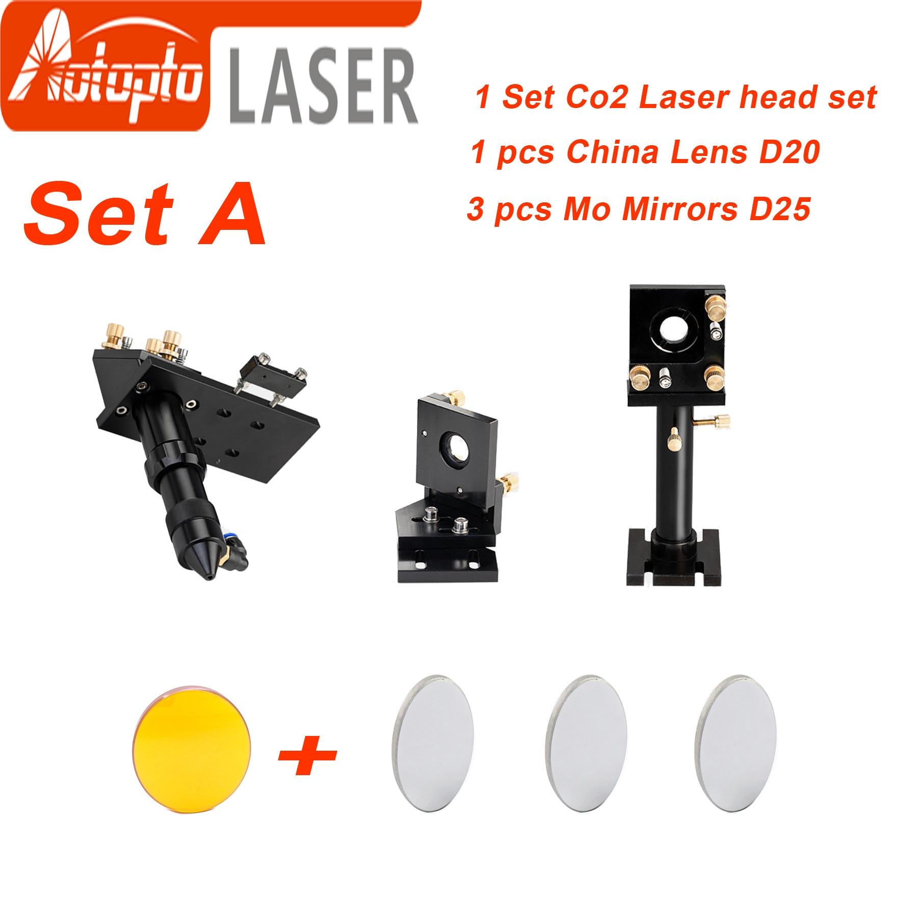 CO2 Laser Head Set Kit + 1 Pcs Dia.20mm ZnSe Focus Lens + 3 Pcs Dia.25m Mo/Si Mirror 25mm For Laser Engraving Cutting Machine