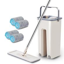 台所の床スピンモップクリーナー360回転マジックフラットモップとバケツで洗浄床ホームクリーニングマイクロファイバーモップヘッド