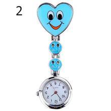 Женские карманные часы для медсестры, милые, ослепляющие лица, сердце, клип-на подвеске, кварцевые часы для медсестры, брелок, брошь, карманные часы, reloj mujer