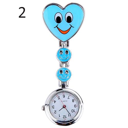 Women Nurse Pocket Watch Cute Smiling Faces Heart Clip-On Pendant Clock Quartz Nurse Fob Brooch Pocket Watch Reloj Mujer