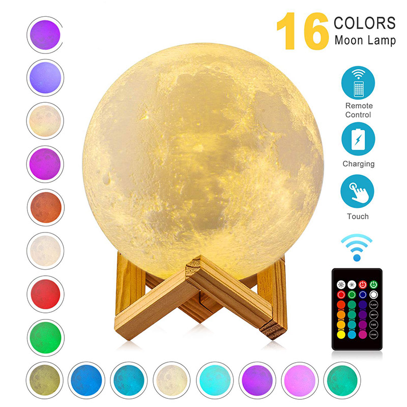 ZK20 LED Night Light 3D Print Moon Lamp 16 Colors Rechargeable Change Light Touch Remote LED Moon Light Gift
