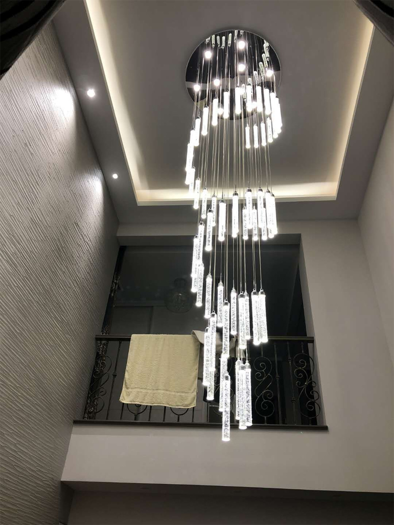Chandelier Light For High Ceilings Villa Entryway Stairs Hanging Spiral Long Lamps Crystal Staircase Chandelier Hanging Lights