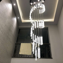 Chandelier-Light Crystal Entryway-Stairs Long-Lamps Hanging Spiral High-Ceilings