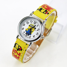 Cartoon Children Watch Girls Boys Kids Leather Strap Quartz Wrist Watch