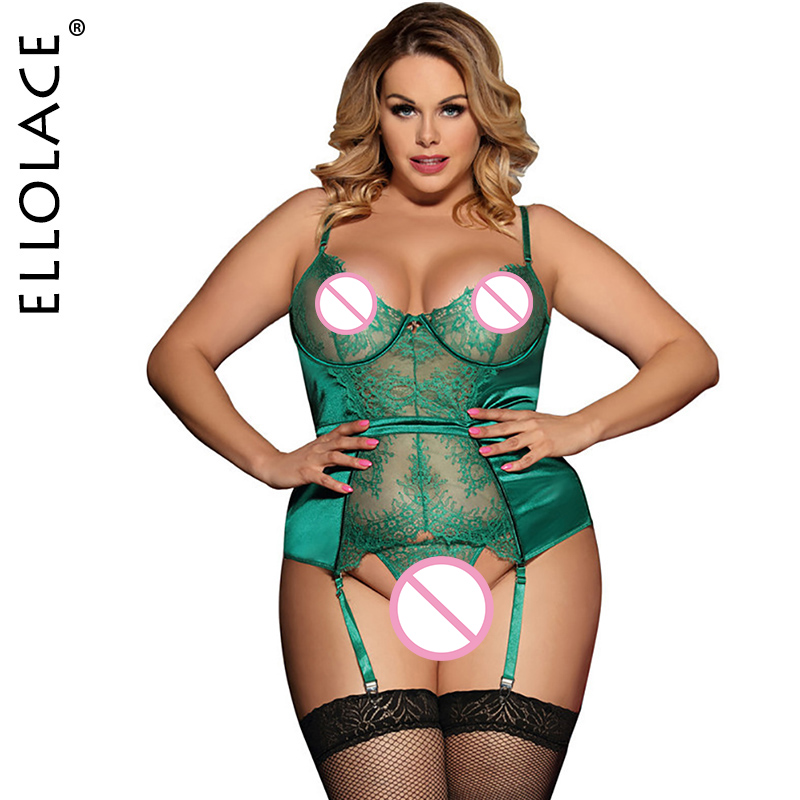 Ellolace Bodysuit Plus Size Lace Lingerie Body See Through Female Overalls Bodycon Sleveless Bodysuits Sertin Babydoll M-5XL