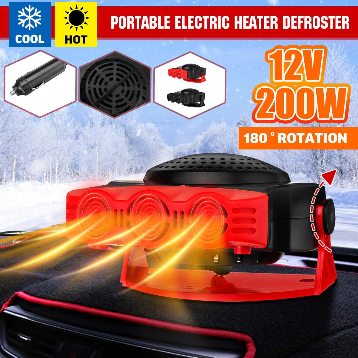 2in1 12V 200W Car Heater Fan Heating/Cooling Fans Defrosts Defogger 3 Air Vent Outlet Holes