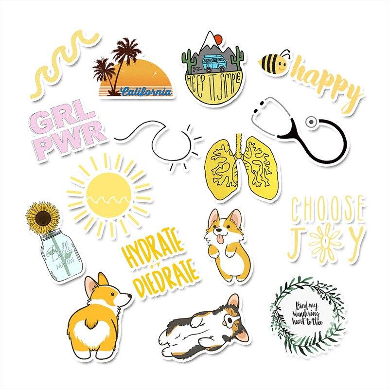 50 PCS Cartoon Yellow VSCO Stickers for Chidren Toy Waterproof Sticker To DIY Suitcase Laptop Bicycle Helmet Car Decals