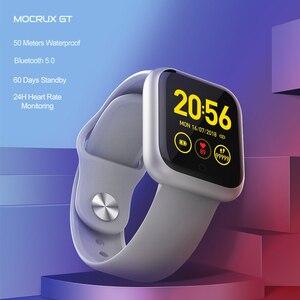 Image 1 - Reloj inteligente GT IP68, dispositivo portátil, resistente al agua, Bluetooth, podómetro, Monitor de ritmo cardíaco, pantalla a Color, para Android e IOS