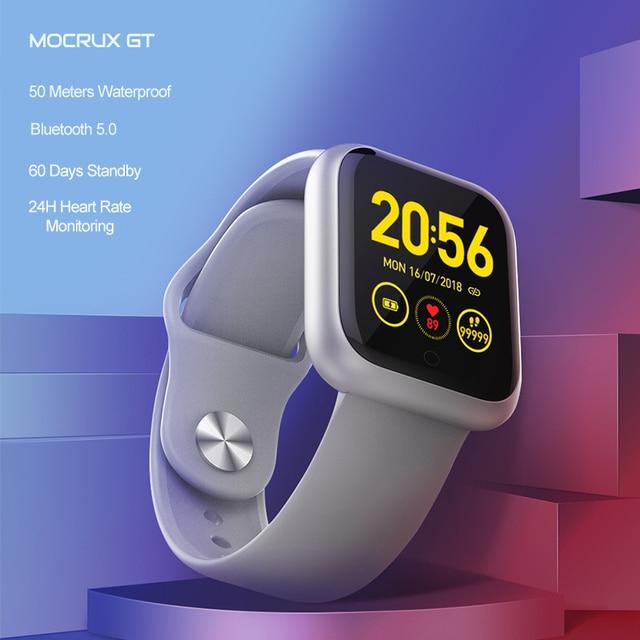 Reloj inteligente GT IP68, dispositivo portátil, resistente al agua, Bluetooth, podómetro, Monitor de ritmo cardíaco, pantalla a Color, para Android e IOS