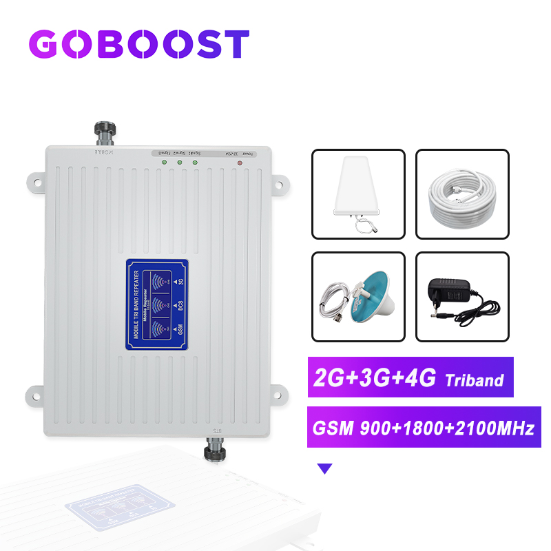 2G 3G 4G Tri Band Signal Repeater Cellular Signal Booster GSM 3G 4G 900 1800 2100 Mobile Phone Signal Amplifier 4G Antenna Kit -