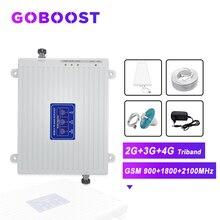 GOBOOST 2G 3G 4G Tri Band אות משחזר אות סלולארי GSM 900 1800 2100 טלפון נייד אות מגבר 4G אנטנת קיט