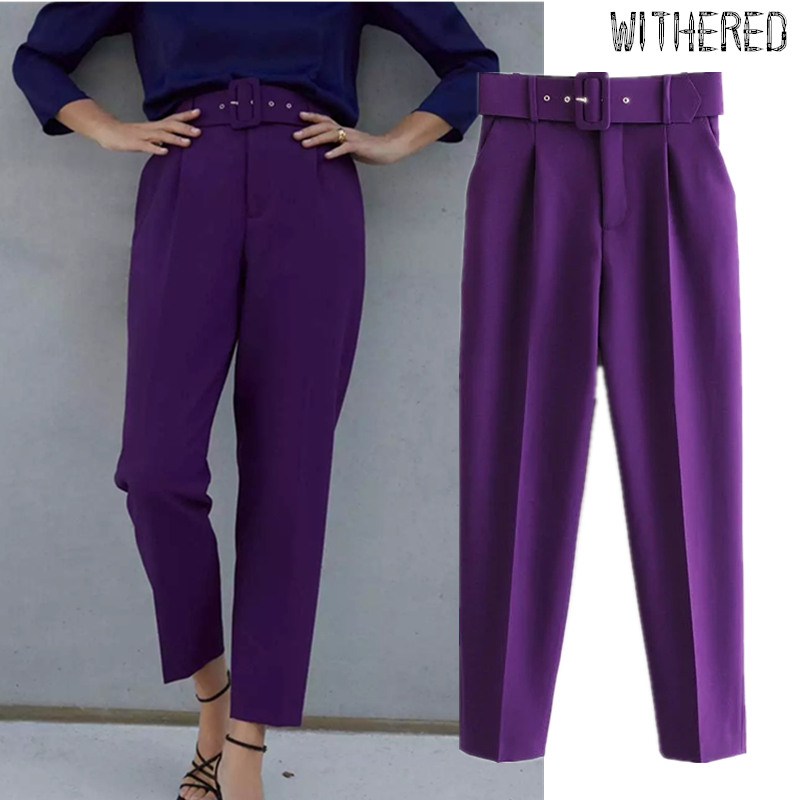 Withered Suit Pants Women England Office Lady Multicolor Solid Sashes Straight Pantalones Mujer Pantalon Femme Trousers Jumpsuit
