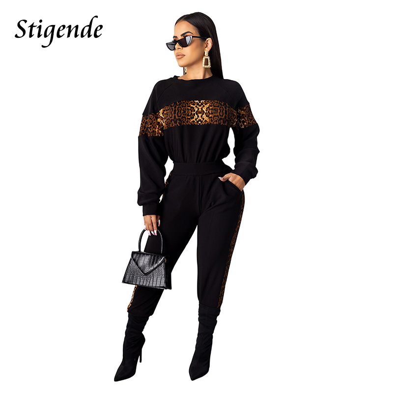 Stigende Autumn Leopard Print Fitness 2pcs Set Woman Patchwork Sexy Two Piece Workout Set Casual O Neck Pullover And Pants Set