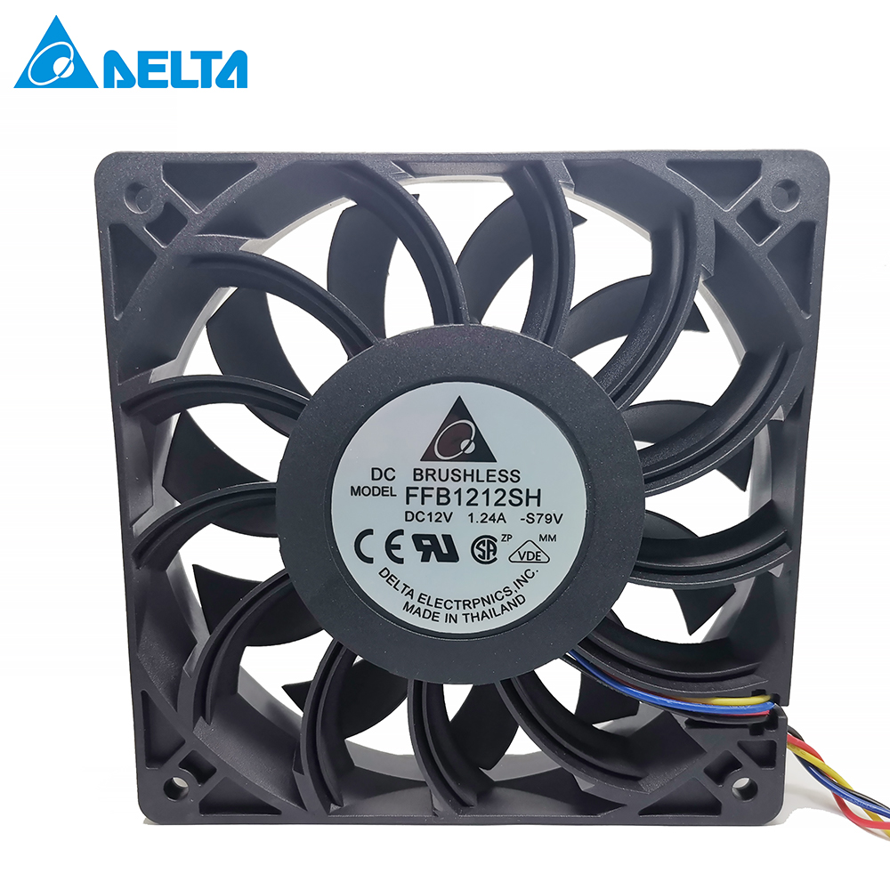 For Delta FFB1212SH 12025 DC 12V 1.24A 12CM Violent High Speed Air Volume Fan Pwm 4-pin Server Inverter Case Axial Cooler Fans
