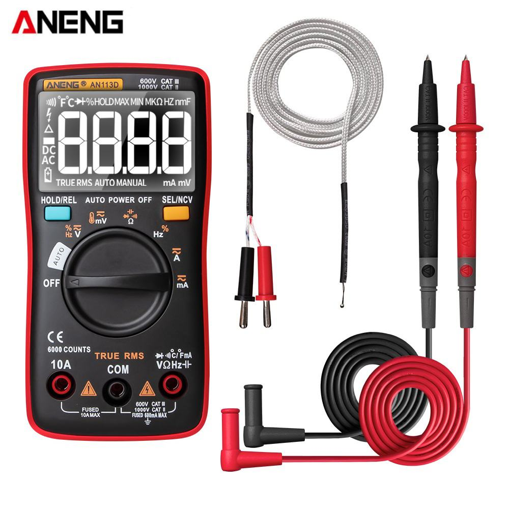ANENG AN113D Intelligent Auto Measure True-RMS Digital Multimeter 6000 Counts Resistance Diode Continuity Tester