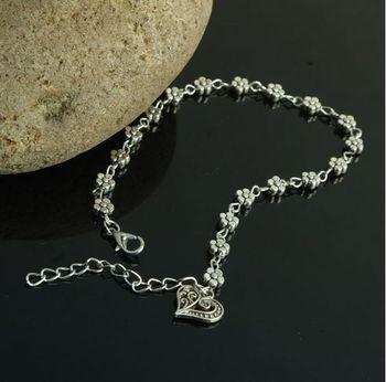 Boho Heart Charm Ankle Chain Beach Anklet Bracelet Barefoot Sandal  Antique Silver Color Jewelry Foot Anklet Bracelet For Women 4