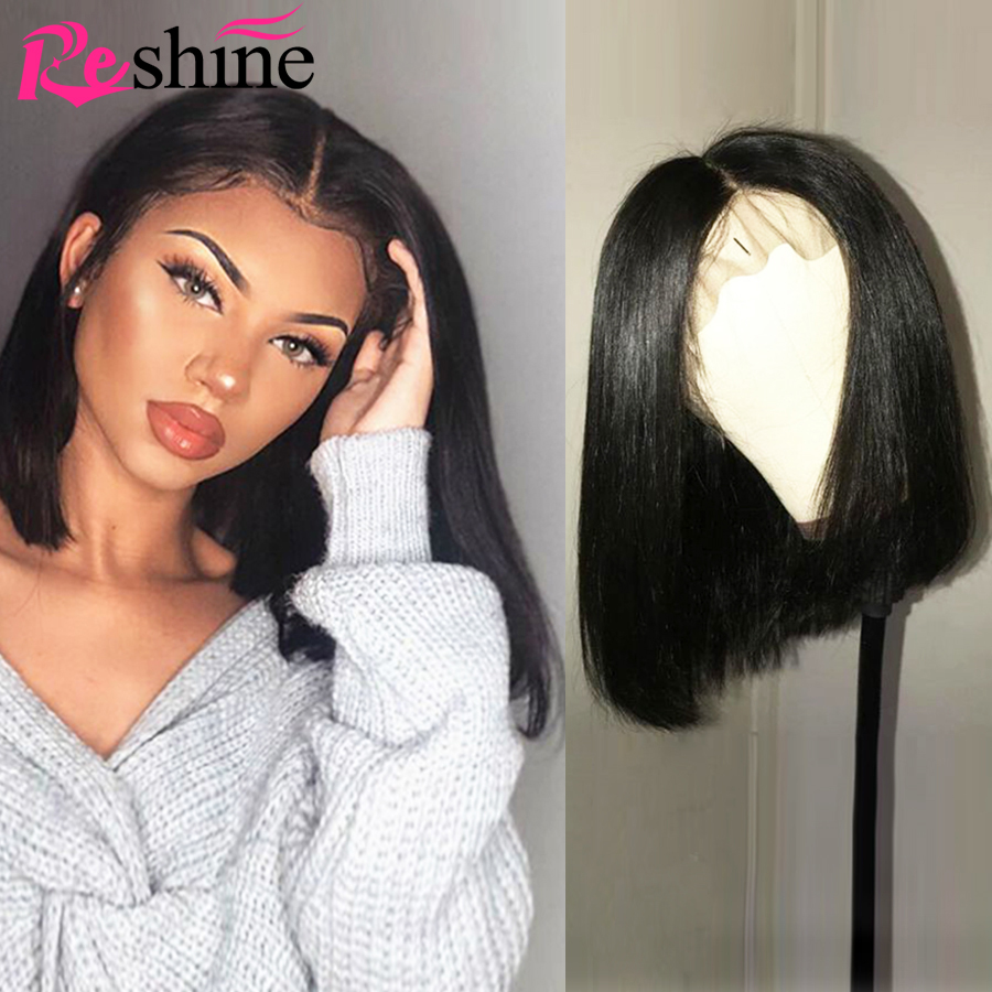 Reshine Bob Lace Front Wigs Short Human Hair Wigs Brazilian Straight Lace Front Wig Remy Bob Short Lace Front Human Hair Wigs