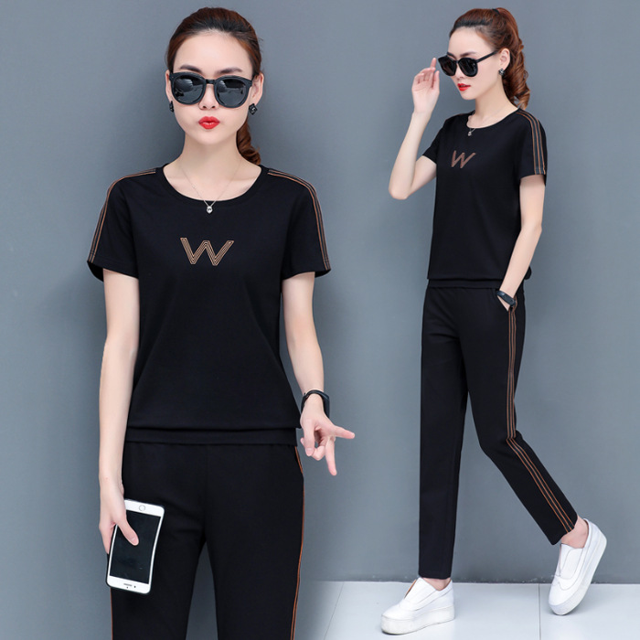 Hot Selling Pure Cotton Sports WOMEN'S Suit Summer 2020 New Style Large Size Dress-Style Two-Piece Set Slimming Summer Wear