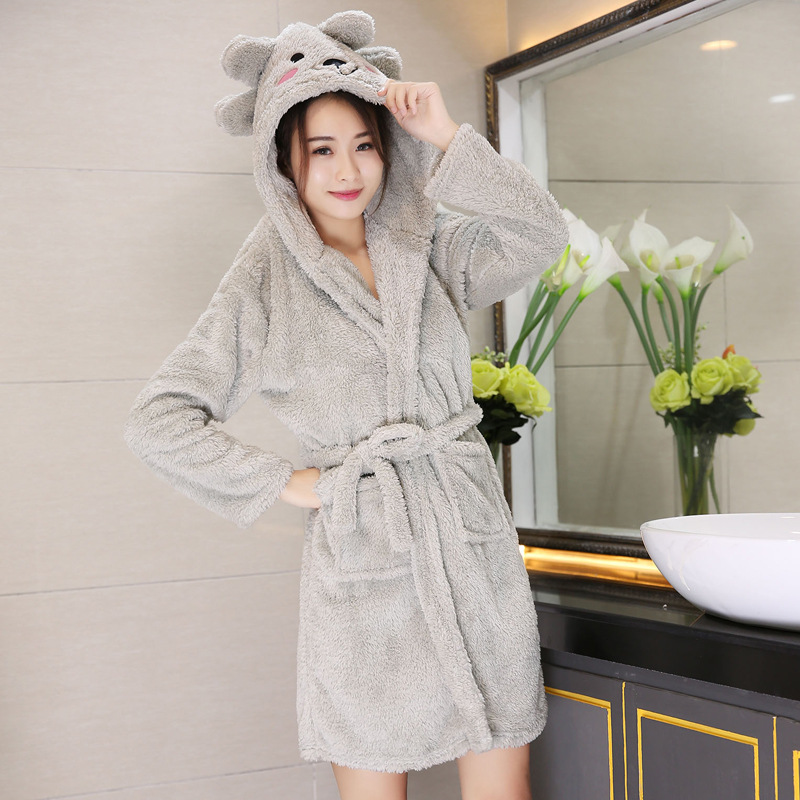 Cute Gray Kimono Coral Fleece Winter Robe Dressing Gown Loose Bathrobe Nightwear Women Flannel Nightdress Sleepwear Bathrobe