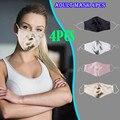 4 шт., мужская и женская летняя ультратонкая двухслойная маска для лица, сатиновые регулируемые ремешки, модные маски 2020, многоразовые маски,...