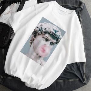 Женская футболка с принтом Monla Lisa, летняя футболка большого размера с коротким рукавом в стиле Харадзюку, женские топы унисекс, женская одежда
