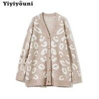Yiyiyouni Cardigan maglione leopardato oversize autunno inverno donna Casual scollo a v maglioni lavorati a maglia maglione monopetto donna