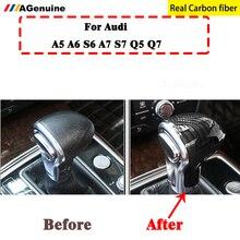 Настоящее углеродное волокно автомобиля переключения передач воротники ручка Крышка уровня голова оболочка для Audi A4 B8 A5 S5 A6 C7 A7 Q5 Q7