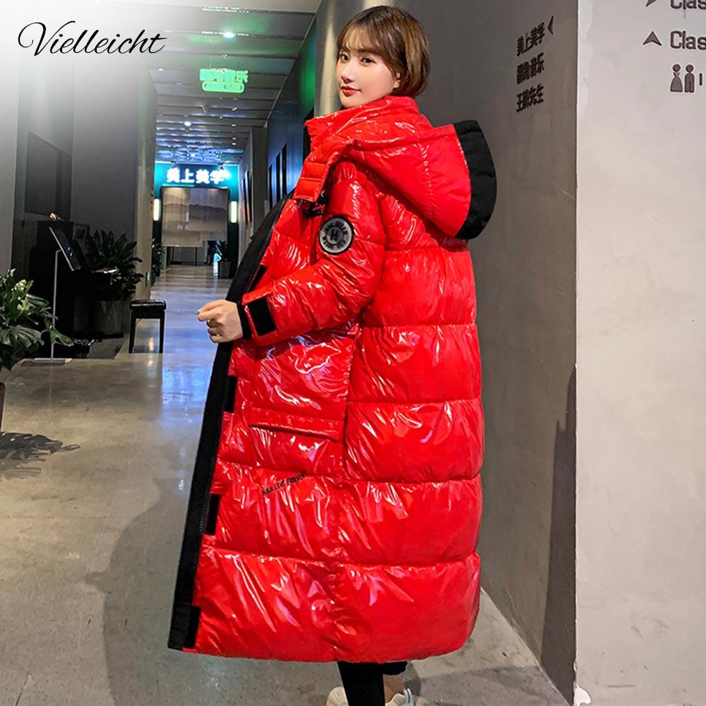 Vielleicht 2020 Женское пальто с капюшоном X Long Parkas оверсайз зимняя куртка женская Глянцевая зимняя толстая пуховая хлопковая куртка Женское пальто|Парки| | АлиЭкспресс
