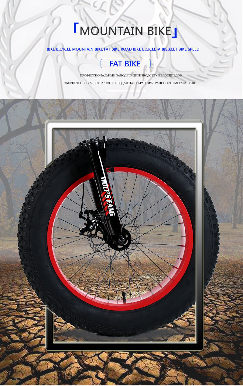 """H2b05d977e976480cb510e61f53304ef8T wolf's fang Mountain Bike 20""""x 4.0 Folding Bicycle 21 speed road bike fat bike variable speed bike Mechanical Disc Brake"""